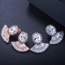 New Style Elegant Fan-Shaped Earrings Micro Set Zircon Trend with Female Earrings