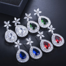 Temperament Fashion Joker Earrings Inlaid Zircon Plated Earrings