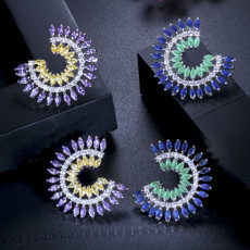 Stylish Refined Luxury Colorful Small Fresh Zircon Earrings