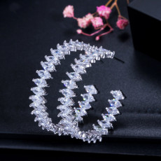 Fashion Trend Half Ring Zircon Earring Simple Versatile Female Earring