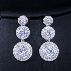 Fashion Luxury Jewelry Geometric Round Eardrop Zircon Plating
