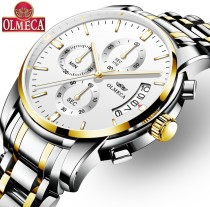 OLMECA Fashion Military Clock Relogio Masculino 3ATM Waterproof Watches Chronograph Wrist Watch Watches for men Stainless Steel