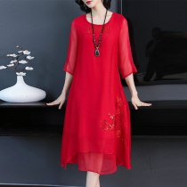 KMETRAM Summer Dress 2019 Vintage Casual Silk Dress for Women Korean Red Midi Dress Elegant Ladies Dresses Vestidos MY2801