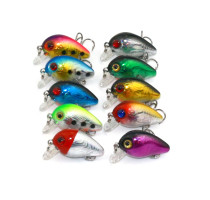 Wholesale 10Pieces 3D Eyes Fishing Bait with Treble Hook Life-like Crankbait Minnow Floating Bass Baits
