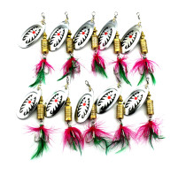 Wholesale 10 pieces/bag Spinnerbait Metal Saltwater Bass Fishing Lure with Treble Hooks