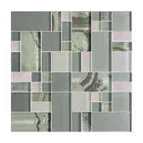 Glass Mosaic Tile Silver Onyx Pattern BP07