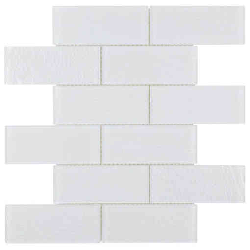 Glass Subway Tile Contemporary White OB06