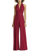 Floor Length V Collar Wine Red Romper Wide Legged Multi-Way For Playing