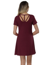 Trendy Purplish Red Crossover Back Mini Dress Rounded Neck Home Dress