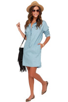 Long Sleeves Pocket Solid Demin Casual Dress
