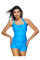 Glossy Plus Halter Ruched Boyshort Swimsuit Padded Cup