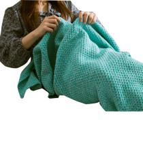 Funky Mint Green Knitted Mermaid Tail Blanket
