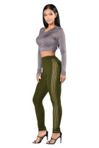 Breathable Lightweight Solid Green High Waisted Tights
