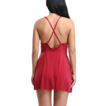 Seductress Red Lace Patchwork Mini Chemises V-Neckline