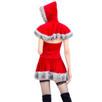 Movie Character Little Red Cap Dress Costume Maribou Trim