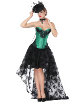 Sleek Smoothers Green Tie Back Lace Two Piece Bustier Skirt Asymmetric