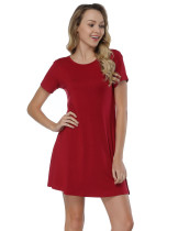 Stretchable Wine Red Bamboo Fiber Mini Dresses Cut Out