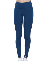 Incredible Blue Full Length Workout Legging Mesh Splicing