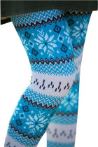 Stretchable Blue White Xmas Leggings Snowflake Pattern