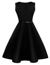 Ultra Fresh Bateau Neck Swing Dress High Waist Zipper Back