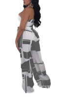 Performance Grey High Rise Wide Leg Pants With One Shoulder Top Hot