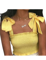 Exclusive Yellow Elastic Frilled Crop Top Ruched Design Fashion