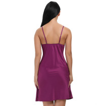 Splicing Camisole Purple Satin Lace Chemise Nightgown