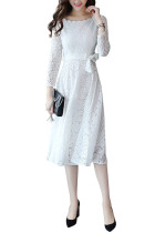 Gorgeous White Swing Crochet Lace Dress Long Sleeve Scoop Neck
