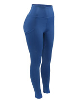 Breathable Blue Butt Lifting Sports Leggings With Pockets Feminine