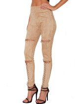 Skinny Suede Apricot Trousers Straight-Leg Wide Waistband