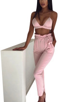 Liberty Pink Agaric Trim Waist Pants High Rise Two Pockets