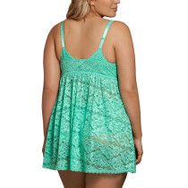 Sultry Green Sheer Lace Plunge V Neck Babydoll Sleeveless