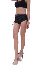 Sporty Black Short Drawstring Yoga Pants Wide Waist Band
