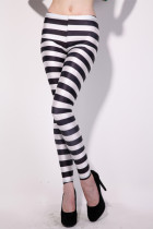 Black and White Stripes Show Thin Tights