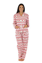 Loose Notched Collar Mom Matching Family Pajamas Christmas