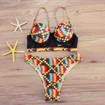 Tribal Pattern Cut Out Two Piece High Rise Bathing Suit