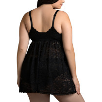 Naughty Black Crochet Floral Lace Cover Babydoll Plus Size