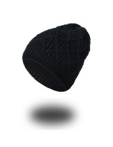 Free Black Adjustable Knitting Hat Plus Cashmere One Size
