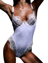 White Floral Lace Teddy Lingerie Adjustable Shoulder Straps