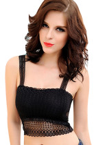 Ladies Translucent Lace V-back Black Crop Top Drop Shipping Womens Crop Tops