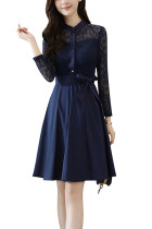 Navy Blue Flowy Dress Front Buttons Lace Sleeves With Waist Tie