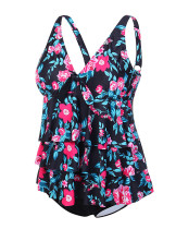Shop Multi-Layer V Neck Print Tankini With Panty Plus Feminine Elegance