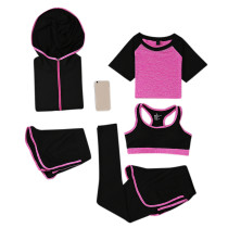 Breathable Skinny Rose Red Five Pieces Yoga Sweat Suits Stretchy
