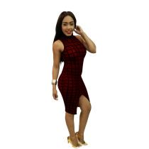 Showstopper Slim Plaid Slit High Neck Bodycon Dress