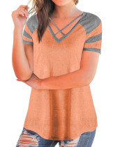 Appropriate High Back Orange V Neck Shirts With Crossover Straps