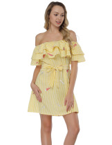 Stylish Flounce Yellow Off Shoulder Mini Dress Pattern Embroidery
