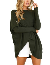 Smoothing Green Winter Blouse Full Sleeve Boat Neck Large Size