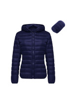 Plus Warm Ultra Light Weight Navy Puffer Jacket Side Pockets