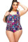 Geometric Printing 2 Piece Plus Size High Waisted Bathing Suits