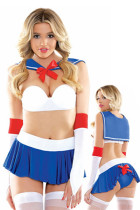 Cosplay Satin Bow Accent Sailor Sweetie Lingerie Costume